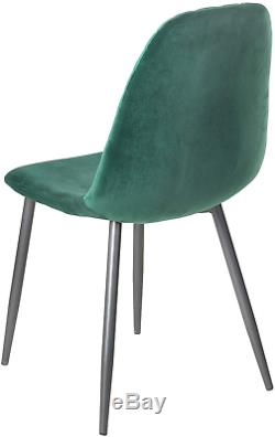 AINPECCA Set of 4 Velvet Dining Chairs Fabric Upholstered seat with Metal Legs 4
