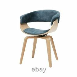 ASARLOSET of 2/ NAVY BLUE UPHOLSTERED DINING/OFFICE CHAIR/MAPLE/VELOUR/SWIVELS