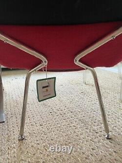 A Pair Of Beautiful Red Open Back Upholstered Dining Chairs Silver 4 AVAILABLE