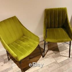 A Pair Of Dining Armchair, Velvet Upholstered, Green With Black Metal Legs
