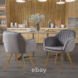 A Pair Velvet Dining Chairs Fabric Oyster Armchair Metal Legs Living Room Chairs