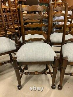 A Set Of Eight Newly Upholstered Oak Lancashire Ladder Back Dining Chairs