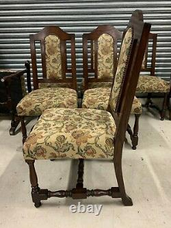 A Stunning Set of Eight Antique Style Solid Oak Upholstered Dining Chairs