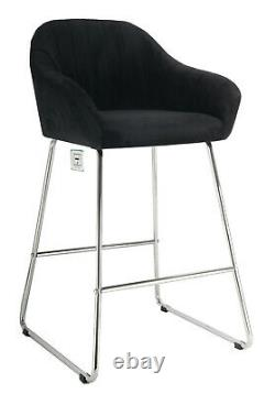 A pair of Black Velvet High Bar Chairs Stool Kitchen/Dining/Breakfast Chairs
