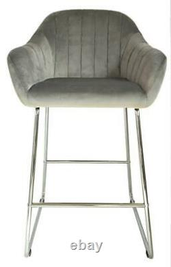 A set of 2 GREY Velvet High Bar Chairs StoolS Kitchen/Dining/Breakfast Chairs