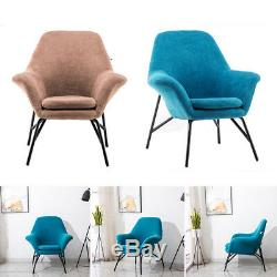 Accent Club Chair Plush Upholstered Metal Base Frame Armchair Dining Chairs Seat