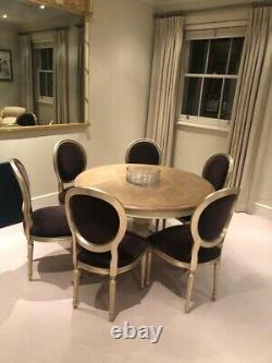 Andrew Martin Dining Chairs Upholstered In Dark Purple Velvet X 6