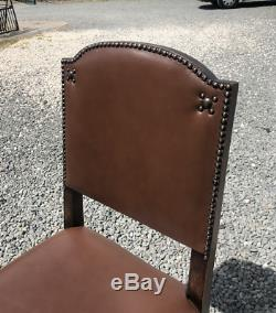 Antique 1930's Set Of 6 Solid Oak Leather Upholstered Dining Chairs