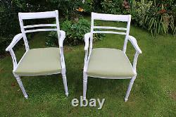 Antique 19th Century French Mahogany Carver Dining Chairs Painted / Upholstered