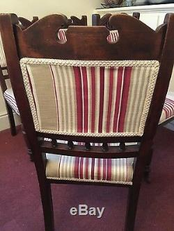 Antique Dining Chairs Set Of 4 Newly Upholstered In Laura Ashley Fabric