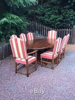 Antique Dining Room Table 6 Upholstered High Backed Chairs Plus 2 Carvers
