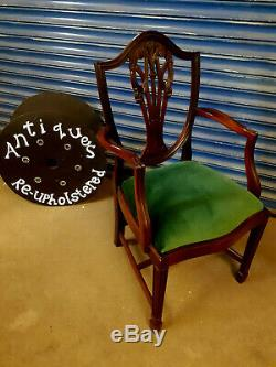 Antique Mahogany Dining Table and six upholstered chairs