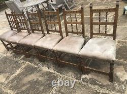 Antique Oak Dining Chairs, Leather Upholstered, Finished Metal Studs Studding x6