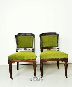 Antique Victorian Pair Of Carved Dining Chairs Newly Upholstered