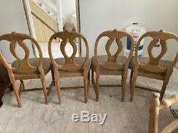 Antique/Vintage style set of 8 solid wood dining chairs, fabric upholstered seats