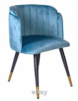 Armrest Chair Velvet Aquamarine Dining Upholstered Retro Armchair Kitchen