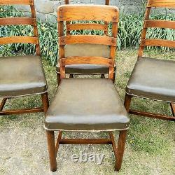 Art Deco Set of 4 Oak Upholstered Dining Chairs C1920 (Mid Century)