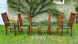 Arts & Crafts Set of 6 Oak Upholstered Dining Chairs & Carvers Edwardian C1910