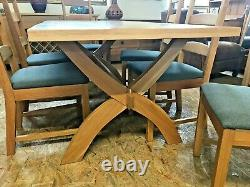 Barker & Stonehouse Solid Oak Dining Table & 6 Grey Upholstered Oak Chairs