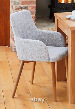 Baumhaus Oak Accent Upholstered Dining Chair Light Grey Linen (Pair)