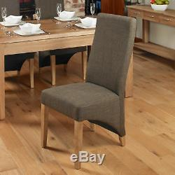 Baumhaus Oak & Fabric Dining Chairs Upholstered in Hazelnut (Pack Of Two)