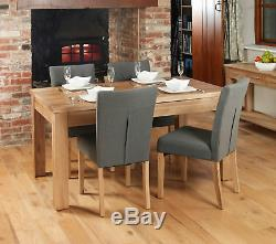 Baumhaus Oak Flare Back Upholstered Fabric Dining Chairs in Slate Grey Pair
