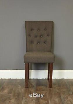 Baumhaus Shiro Walnut Flare Back Upholstered Dining Chair in Slate Pack of Two