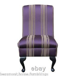 Bedroom Dining Room Accent Chair in a Damask Damson Purple Stripe Fabric SR14276