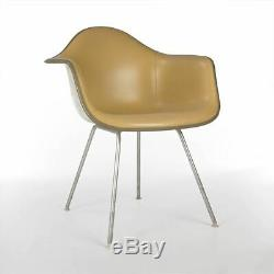 Beige Herman Miller Original Eames Upholstered DAX Dining Arm Shell Chair
