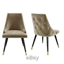 Beige Velvet Dining Chairs with Button Back & Black Legs Maddy MDY005