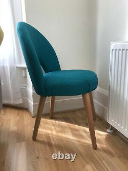 Bentley Designs Oslo Oak Teal Fabric Upholstered Dining Chairs 2x