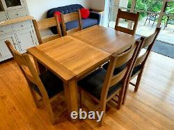 Besp-Oak Vancouver Petite Solid Oak Dining Table & 6 chairs (re-upholstered)