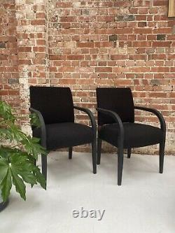 Black Boucle Upholstered dining chairs, Boucle Fabric, 4 Black Dining Chairs