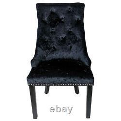 Black Crushed Velvet Knocker Back Windsor Dining Chair Button Fabric Wood Legs