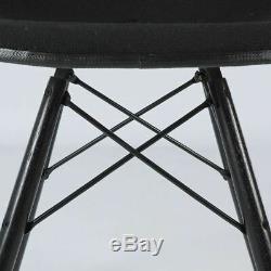Black Pair Herman Miller Original Eames Upholstered White DSW Side Shell Chairs