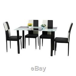 Black & White Glass Dining Table and 4 Faux Leather Chairs Set Upholstered Seat