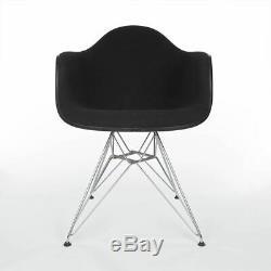 Black on Black Vitra Plastic Vitra Original Eames Upholstered Dining Arm Chair