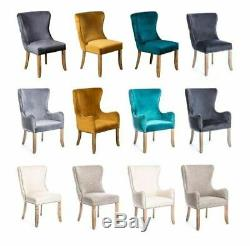 Blue Teal Velvet Dining Chair, Upholstered Side Chair, Button Back French Style