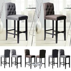 Breakfast Bar Stool Linen Fabric Chair Kitchen Dining Room Upholstered High Seat