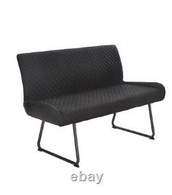 Bronx Industrial Dining Bench Chair Kitchen Seat Charcoal PU Leather RRP £220