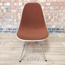 Brown Herman Miller Original Eames Upholstered DSR Dining Side Shell Chair