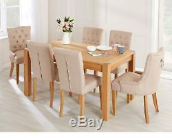 Button Back Dining Chairs Cream Linen & Oak Legs Pair Upholstered Fabric Chairs