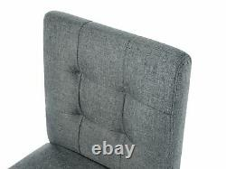 Button Tufted Upholstered Grey Fabric Bar Stool with Backrest Madison
