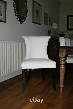 COUNTRY HOUSE SALE Set 6 OKA Cream Upholstered Winged Dining Chairs CHAIRS ONLY