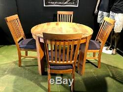 Can Deliver Barker And Stonehouse Round Oak Dining Table + 4 Upholstered Chairs