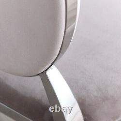 Champagne Upholstered Velvet Luxury Dining & Kitchen Chair with Oval Chrome Trim