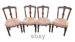 Charming Matched Set of 4x Antique Victorian Mahogany Upholstered Dining Chairs