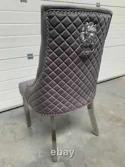 Chelsea Brushed Dark Grey Velvet Quilted Dining Chair Lion Knocker Metal Legs