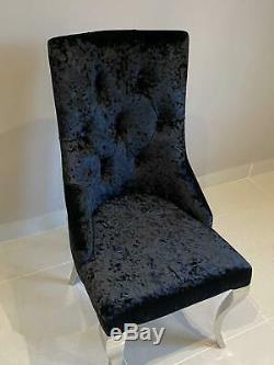 Cheshire Knocker Back Dining Chair Black Crushed Velvet Louis Chrome Legs