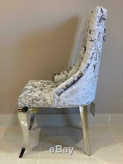 Cheshire Knocker Back Dining Chair Silver Crushed Velvet Louis Chrome Legs